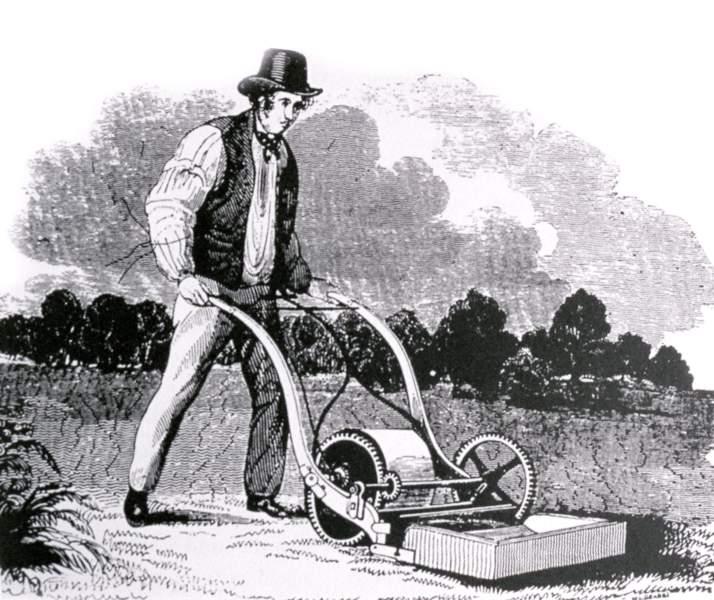 Une tondeuse anglaise avec son créateur Edwin Beard Budding